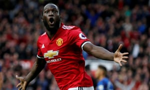 Romelu Lukaku celebrates scoring for Manchester United in their 4-0 victory over his former club Everton at Old Trafford on Sunday