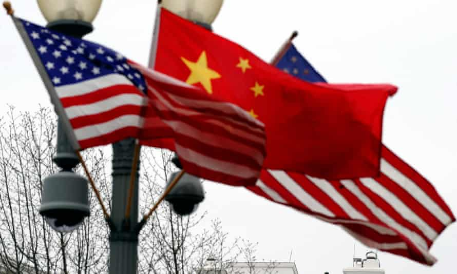 The flags of the US and China in Washington DC.