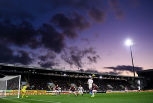 The game, played under purple skies, turned into a goal-fest.