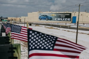 American flags fly in front of the General Motors production plant complex in Lordstown, Ohio.