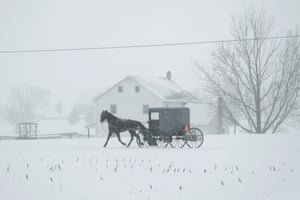 A horse and buggy drive through a wintery landscape in Salisbury, Pennsylvania