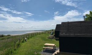 Shoreside Huts with views south along Alnmouth Bay