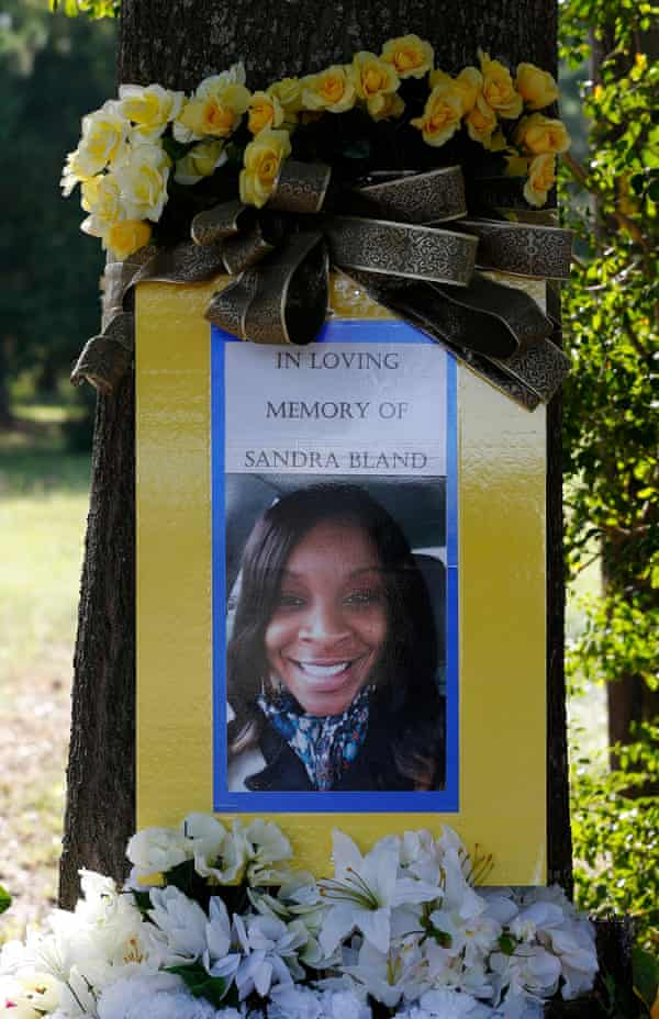 A memorial for Sandra Bland at the site where she was pulled over.