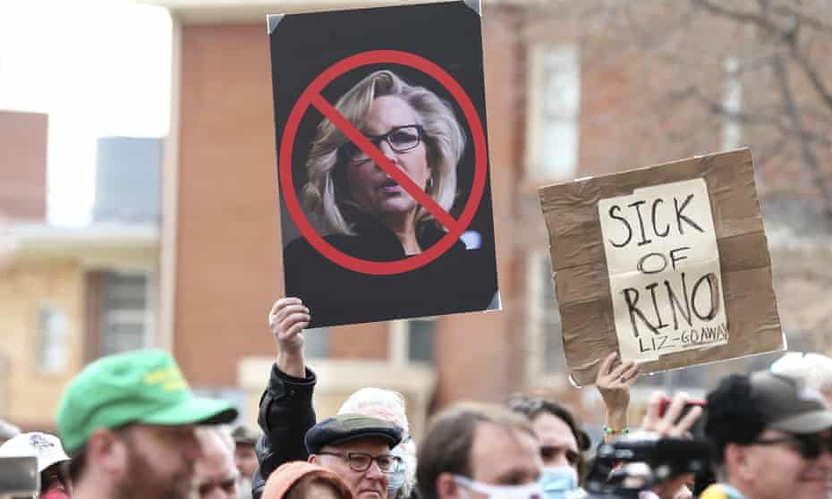 Protesters demonstrate against the leading Republican congresswoman Liz Cheney at a rally in Cheyenne, Wyoming, that was addressed by the staunch Trump ally Matt Gaetz.