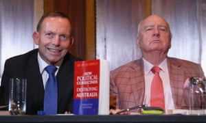 Alan Jones with former prime minister Tony Abbott at the launch of How Political Correctness Is Destroying Australia by Kevin Donnelly in 2018.