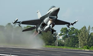 Taiwan is heavily reliant on the US for its defences, such as this F-16 fighter jet.