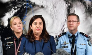 Queensland premier Annastacia Palaszczuk (C) speaks alongside Queensland Police deputy commissioner Bob Gee (L) and Queensland Fire and Emergency Services commissioner Katarina Carroll (R) during a Cyclone Trevor press conference at the Emergency Services Complex in Brisbane.