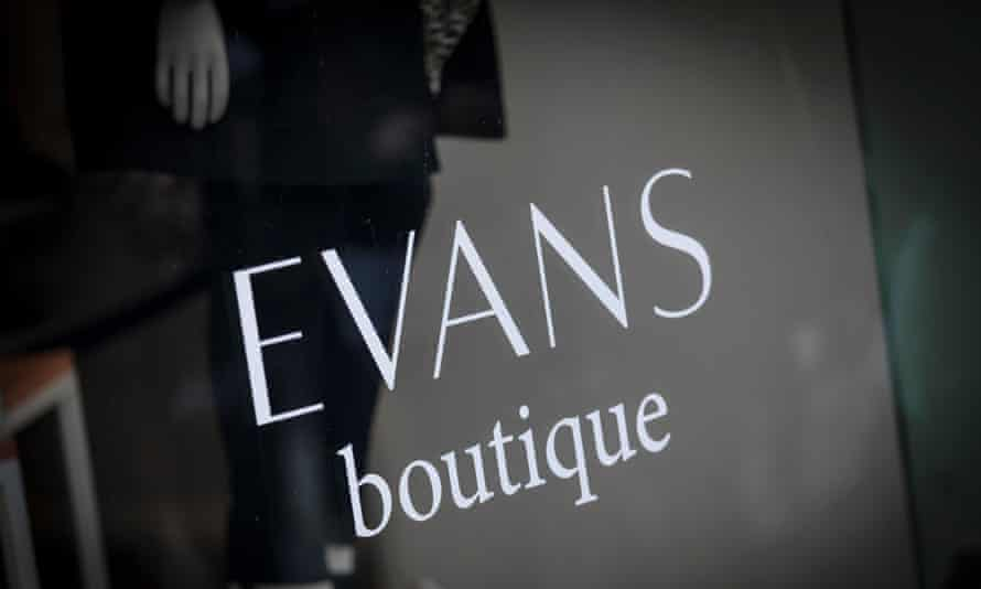 A sign and logo for Evans boutique store