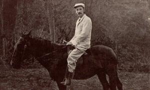 Bleak black humour … Robert Louis Stevenson on his horse Jack in Samoa.