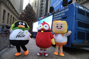Mascots of Tencent Music Entertainment celebrate the company's IPO outside of the NYSE in New YorkMascots of Tencent Music Entertainment celebrate the company's IPO outside the New York Stock Exchange (NYSE) in New York, U.S., December 12, 2018. REUTERS/Bryan R Smith