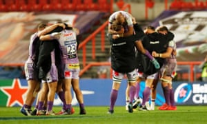 Exeter players celebrate winning the European Champions Cup Final