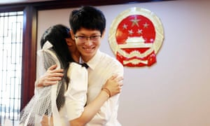 One of the many couples registering for marriage at the registry office of Pudong District in Shanghai