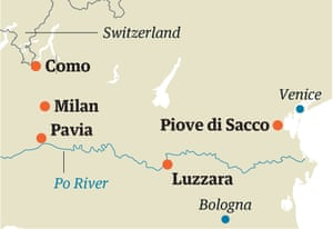 Italy map with Po valley
