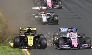 Daniel Ricciardo loses his front wing.