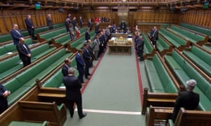 A video grab from footage broadcast by the UK Parliament's Parliamentary Recording Unit (PRU) shows MP's in the House of Commons standing for a minutes silence in memory to those who died in the New Zealand terror attack on March 15, 2019.