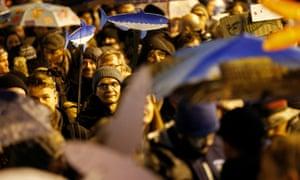 'Sardine' movement protesters rally in Reggio Emilia.