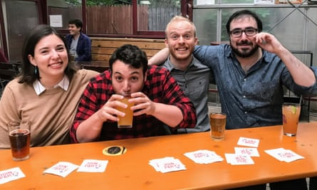 Amanda McLoughlin, Eric Silver, Brandon Grugle, and Michael Fische from the Join the Party Podcast