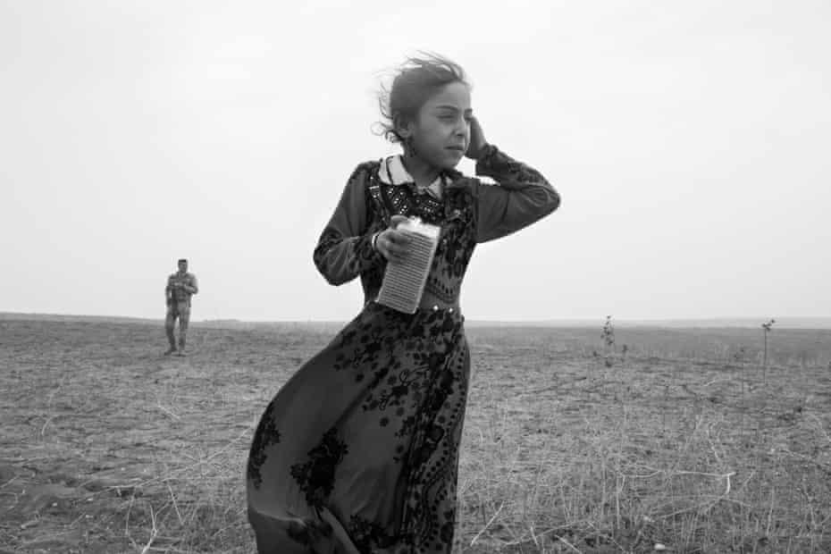 Refugees flee Isis and take refuge behind Peshmerga lines, Iraq, 2016.