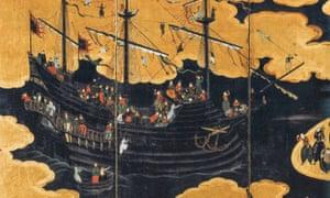 Namban art ('barbarians from the south'): panels attributed to Kano Naizen.