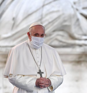 Pope Francis wore a mask for the first time at a public function when he attended a ceremony for peace with representatives from various religions in Rome. He had come in for criticism, particularly on social media, for not wearing a mask at his general audiences and sometimes coming in relatively close contact with visitors. The pope took off his mask while he read his address, as did other leaders when they spoke, but put it back on when he finished speaking.