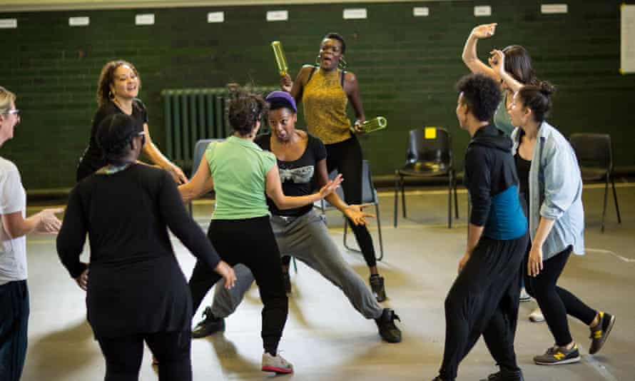 The Tempest cast in rehearsal.