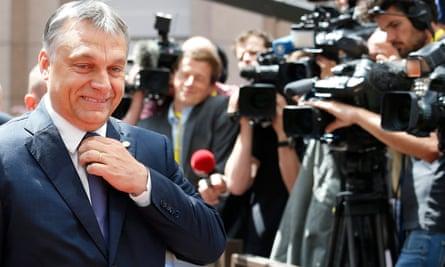 Hungarian prime minister Viktor Orban arrives for last month's European summit in Brussels