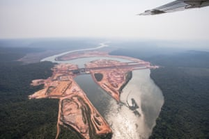 An aerial view of the construction site of a hydroelectric dam along the Teles Pires river, a tributary of the Amazon, in Mato Grosso.