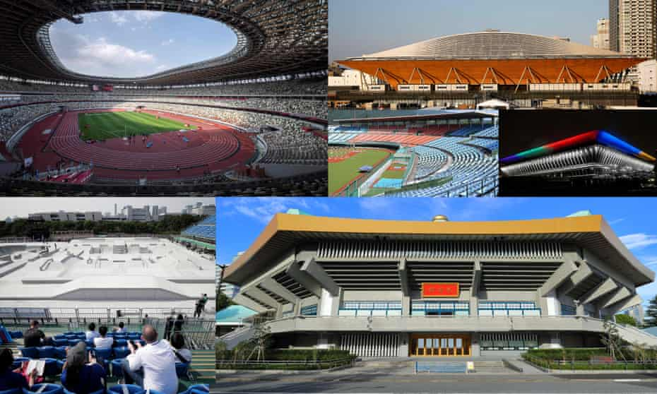 (Clockwise from centre) The Fukushima Azuma baseball stadium, the Ariake Gymnastics Centre, the Tokyo Aquatics Centre lit up with Olympic colours, the historic Nippon Budokan which is the venue for judo and karate, spectators watch a skateboarding test event at the Ariake Urban Sports Park and finally the National Stadium is shown during an athletics test event.