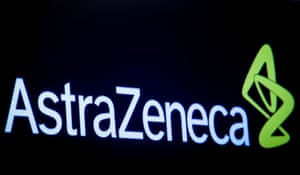The company logo for pharmaceutical company AstraZeneca is displayed on a screen on the floor at the NYSE in New York.