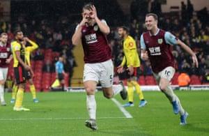 Burnley's James Tarkowski celebrates making it 3-0 against Watford at Vicarage Road.