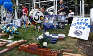 A shrine outside of Beaver Stadium commemorates Joe Paterno's first game.