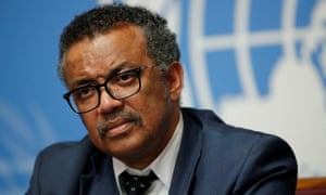 The director-general of the WHO, Dr Tedros Adhanom Ghebreyesus.