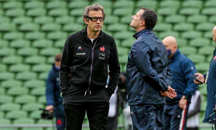France's head coach, Fabien Galthié (left), is among those in the Six Nations squad to have tested positive for coronavirus.