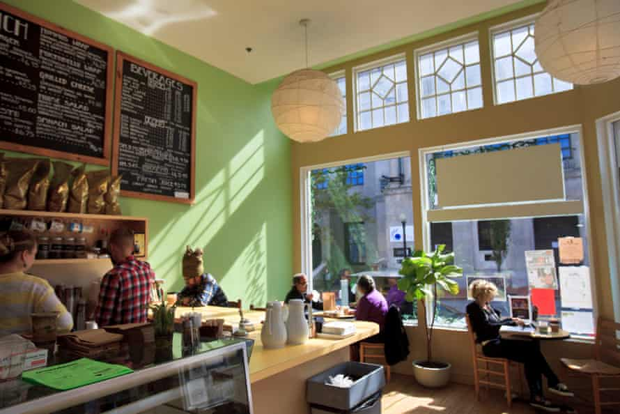 The Green Bean cafe in downtown New Bedford, busy during lunch.