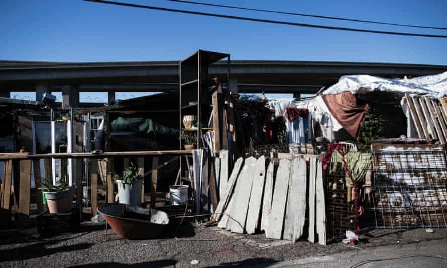 Mavin Carter-Griffin's home in an encampment in West Oakland, California.