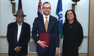 Senator Andrew Bragg, with Rachel Perkins and Richie Ah Mat, in Parliament House, Canberra, Wednesday 24 July 2019.