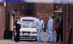 Police at the scene in Whitley Bay, Tyneside, where Martin McGartland was shot in 1999.