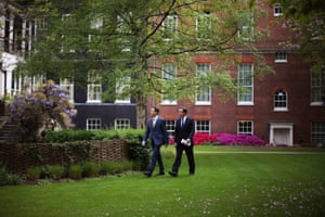 David Cameron and Nick Clegg in the garden of 10 Downing Street