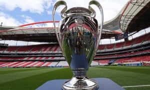 The Champions League trophy on display at Lisbon's Estádio da Luz before the 2014 final there.