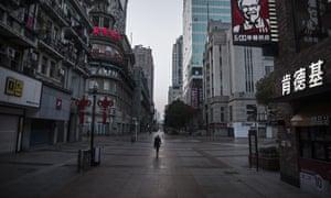 An almost empty street in Wuhan last week.