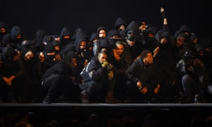 In a sombre mood … Kanye West was joined by a posse which included UK grime artists at the 2015 Brit awards.