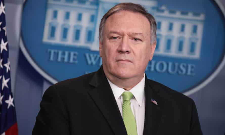 Mike Pompeo at a press briefing at the White House in Washington DC Friday.