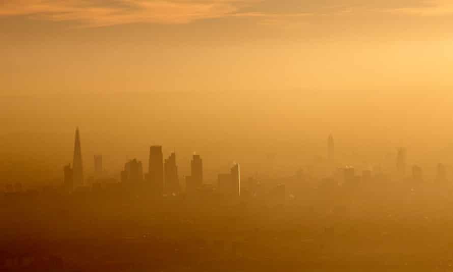 Aerial view towards south London through poor air
