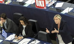 Marine Le Pen, right, speaks at the European parliament.