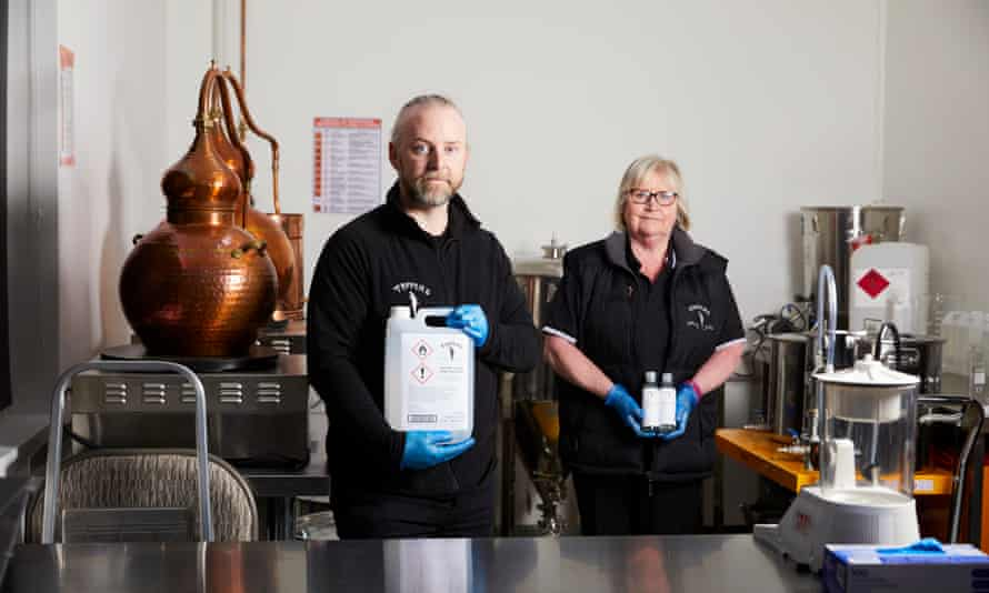 Steve and Sue Tapril at the Tappers Gin distillery, in West Kirby.