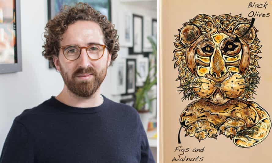 'I like people who embody their worlds through their bakes' … Tom Hovey and his drawing of series six contestant Paul's celebrated lion bread.