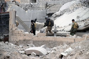 Soldiers are supported by US-led coalition airstrikes