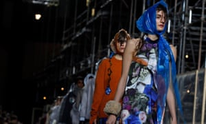 Models present creations at the Christopher Kane catwalk show