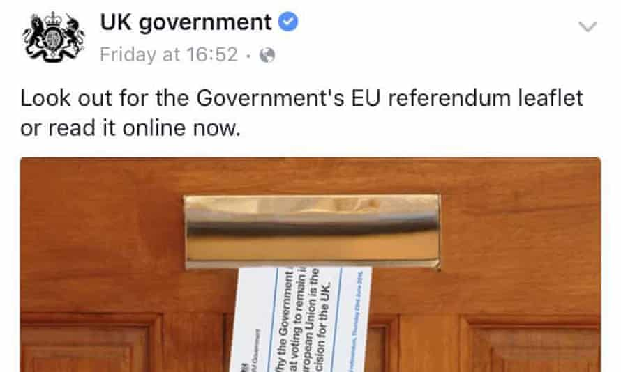 UK government Facebook post about EU referendum