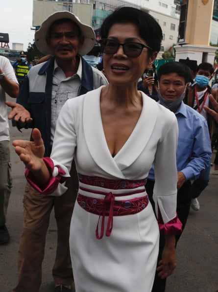 Cambodian-American human-rights activist and lawyer Theary Seng arrives at the Court in Phnom Penh, Cambodia.